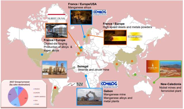 Eramet operations map