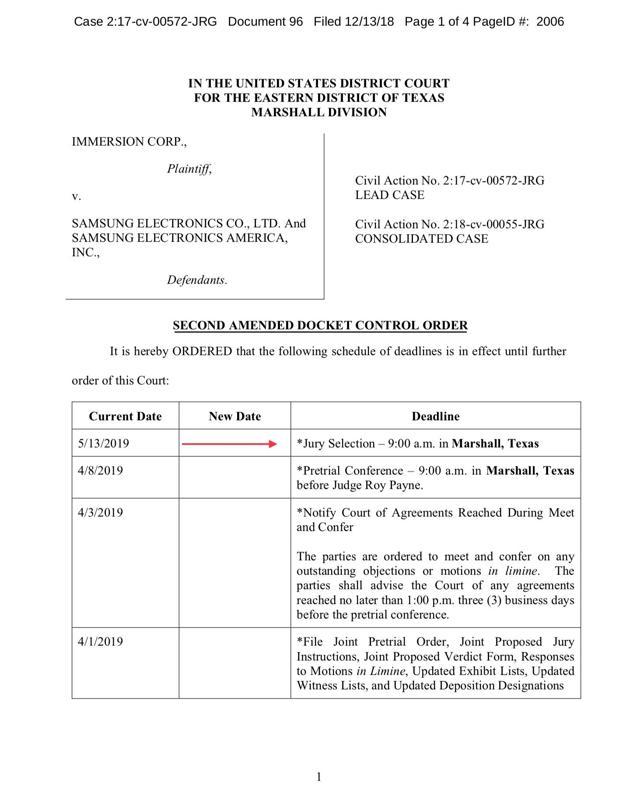 Immersion Corporation Samsung trial schedule